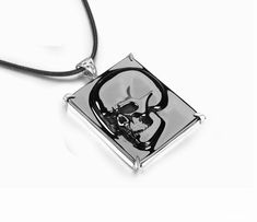 Black Obsidian Carved Crystal Skull Pendant Necklace with Sterling Silver Skull Pendant, Pendant Necklace, Black Skulls, Crystal Skull, Carving, Pendants, Gemstones, Crystals, Sterling Silver