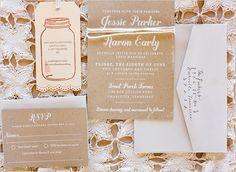 mason jar wedding invitations - love this look!