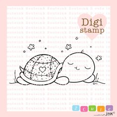Sleeping Turtle Digital Stamp For Card Making