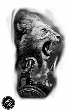 Lion Head Tattoos, Tiger Tattoo, Wolf Tattoos, Leg Tattoos, Body Art Tattoos, Sleeve Tattoos, Tattoos For Guys, Gladiator Tattoo, Spartan Tattoo
