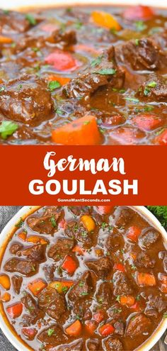 German Goulash (One Pot Comfort Food!) Wholesome ingredients and melt-in-your-mouth tender chunks of meat makes eating German goulash is an intense experience of awesome proportions. Hamburger Meat Recipes, Beef Recipes, Soup Recipes, Dinner Recipes, Cooking Recipes, German Food Recipes, German Recipes Dinner, Easy Cooking, Recipies