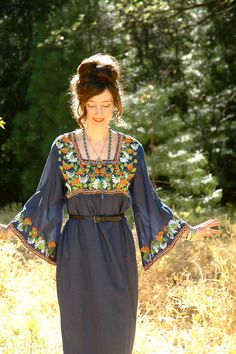 Embroidered Maxi Dress.... Floral Embroidery... by AstralBoutique, $58.00