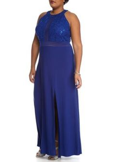 Nightway Royal Blue Plus Size Lace and Sequin Jersey Gown