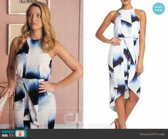Petra's white and blue printed ruffle front dress on Jane the Virgin.  Outfit Details: https://wornontv.net/69884/ #JanetheVirgin