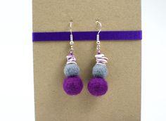 Purple Felt Earrings - Wool Dangle Jewellery with seashells and beads by FeltBuddiesAndCo on Etsy https://www.etsy.com/listing/252299301/purple-felt-earrings-wool-dangle