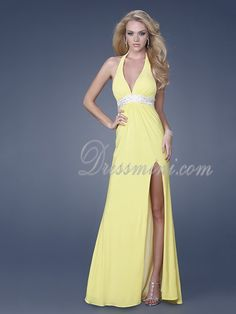 Yellow Long/Floor-length Chiffon Backless Prom Dress PD0A26 at Dressmini.com