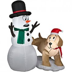 Greet your family and passers-by with this Inflatable Snowman and Dog Yard Decor. This tall standup makes your yard lively with a bright LED-lit humorous snowman display with a persnickety puppy that brings color and fun to your yard displays. Inflatable Christmas Decorations, Christmas Yard Decorations, Holiday Decor, Outdoor Decorations, Holiday Inflatables, Michael S, Led Christmas Lights, Christmas Characters, Christmas Humor