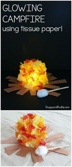 Glowing Campfire Craft for Kids - Buggy and Buddy - Glowing Campfire Craft for Kids- Perfect summer craft for summer camp, fire safety week, or a summe - Summer Camp Activities, Craft Activities, Preschool Crafts, Kids Crafts, Arts And Crafts, Craft Kids, Summer Camp Themes, Summer Camp Crafts, Summer Fun