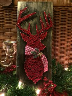Deer Head Silhouette String Art with Scarf Wood Christmas Decor