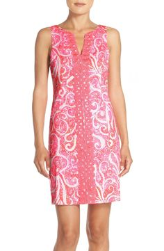 Lilly Pulitzer brings another design to life with this breezy cotton sheath dress, bursting with a cheery tropical print in shades of pink.