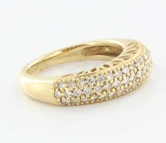 Estate 18 Karat Yellow Gold Diamond Pave Dome Stack Ring Fine Jewelry Pre-Owned  $595