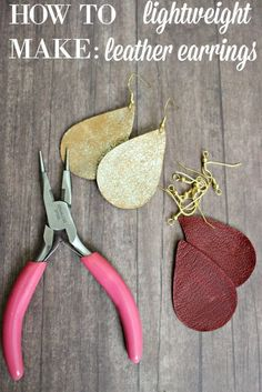 DIY Leather Earrings! These are Lightweight & Easy to Make & Customize! #earringsmakingideas