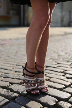 L.A.M.B strappy stilettos.