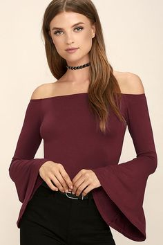 Choose the Flirt Factor Wine Red Off-the-Shoulder Top to bring instant allure to your look! An elasticized off-the-shoulder neckline tops a fitted jersey knit bodice, and long bell sleeves.