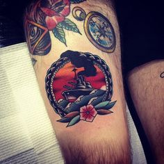 tattoo old school / traditional nautic ink -  ship (by Kirk Jones)