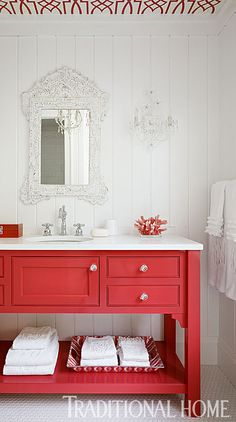 Coral and white bath