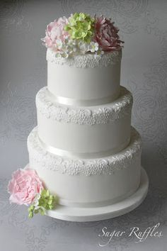 Sugar Ruffles, Elegant Wedding Cakes. Barrow in Furness and the Lake District, Cumbria: Floral Romance Wedding Cake