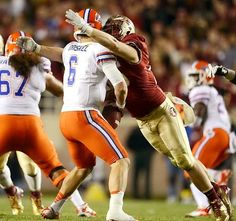 Florida State's Bjoern Werner moves in for a sack against...