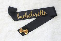 Black and Gold Bachelorette Sash  Custom by GoldandGlamour on Etsy
