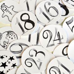 Adventskalenderzahlen - Zahlen-Aufkleber INKY 1 - 24 für den Adventskal... - ein Designerstück von Shabbyflair-Decorations bei DaWanda