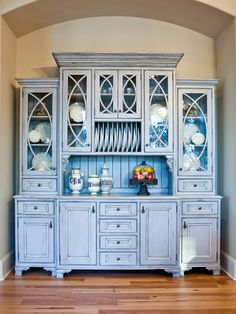 Built In Hutch. Not crazy about the plate rack or beadboard, but I like the staggered height.