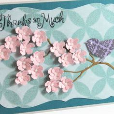 Thanks So Much - Handmade card- Pink Flowers
