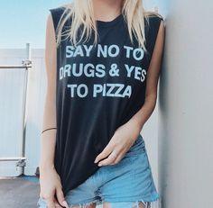 Say no to drugs and yes to pizza, tee shirt, jacvanek.com, Coachella, festival wear