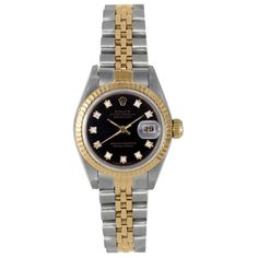 Refurbished Pre-owned Rolex Women's Two-Tone Dial Diamond Accent Watch