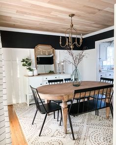 Dining Room Remodel: Adding Character on a Budget Dining Room Walls, Dining Room Design, Dinning Room Wall Decor, Dining Room Windows, Wood Plank Ceiling, Wall Wood, Wood Ceilings, Wood Planks, Dining Room Inspiration
