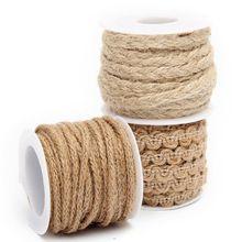 2015 New Arrival Hot Sale 5M Natural Hessian Jute Twine Rope Burlap Ribbon DIY Craft Vintage Wedding Party Decor(China (Mainland))
