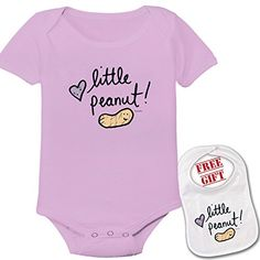 Little Peanut Cute Custom boutique Baby bodysuit onesie  matching bib ** Click image for more details.Note:It is affiliate link to Amazon. #GirlsClothes
