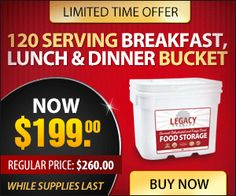 SPECIAL on our 120 Breakfast, Lunch and Dinner Serving Pack