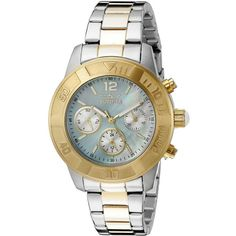 Invicta Angel Analog Display Swiss Quartz Two Tone Watch (5.625 RUB) ❤ liked on Polyvore featuring jewelry, watches, invicta wrist watch, two tone jewelry, invicta watches, swiss quartz watches and stainless steel watches