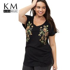 6f317ba8ac2 Plus Size Casual Short Sleeve O-Neck Tops Floral Embroidery Plus Size  Womens Clothing