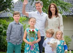 Noblesse et Royautés: Danish Crown Princely Couple at Grasten, July 19, 2015-Crown Prince Frederik and Crown Princess Mary with their four children-Prince Christian, Princess Isabella, Prince Vincent, and Princess Josephine