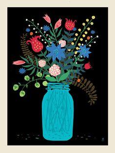 Mason Jar Bouquet screen print