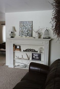narrow shelving in fake fireplace mantle Faux Foyer, Faux Mantle, Farmhouse Fireplace Mantels, Fake Fireplace, Living Room With Fireplace, My Living Room, Home And Living, Fireplace Ideas, Mantle Shelf