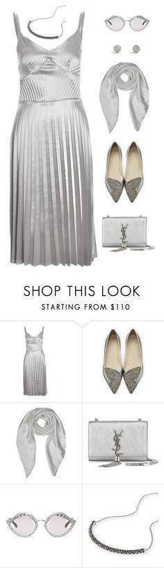 """""""Silver"""" by ms-wednesday-addams ❤ liked on Polyvore featuring Sophia Webster, Forzieri, Yves Saint Laurent, Gucci, Kendra Scott, Silver and dresses"""