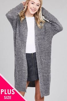 150abca403b60 Ladies fashion plus size dolmen sleeve open front w patch pocket marled  sweater cardigan Plus