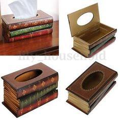Tissuebox Kosmetiktücherbox Kosmetiktuch Tücherbox Taschentuchbox Holz Buch Form