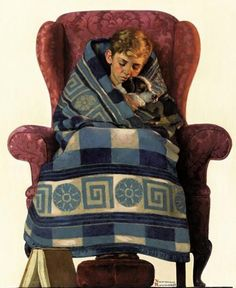 Norman Rockwell - Boy And Dog Snuggled In Blanket