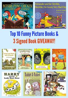 Top 10 Funny Picture Books & 3 Signed Book GIVEAWAY! David Ezra Stein is my guest author today. #Caldecott #giveaway #kidlit Funny Books For Kids, Funny Kids, Preschool Books, Book Activities, Toddler Books, Childrens Books, Goldilocks And The Three Bears, Kids Laughing, Chapter Books