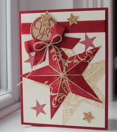 The star stamp is actually embossed in Cherry Cobbler on Gold paper...