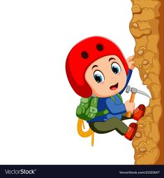 Young man rock climber vector image on VectorStock