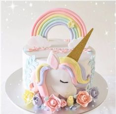 Unicorn meets delicious dessert - Page 8 of 46 - Torten - Cupcakes Fondant Cakes, Cupcake Cakes, Rodjendanske Torte, Unicorn Themed Birthday, 5th Birthday, Pony Cake, Girl Cakes, Savoury Cake, Cute Cakes