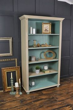 This farmhouse pine bookcase has been painted in Annie Sloan Country Grey with a lightened version of Provence inside. This living room staple is the perfect place to store your books and ornaments, w(Diy Furniture Bookshelf) Shabby Chic Bedrooms, Shabby Chic Homes, Shabby Chic Decor, Shabby Chic Office, Shabby Chic Living Room, Cozy Living, Refurbished Furniture, Shabby Chic Furniture, Furniture Makeover