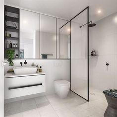 Ensuite inspo via @domain.com.au - that black shower frame   #bathroom #ensuite #homeinspo