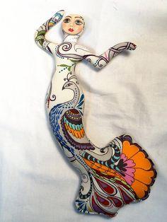 Brown Eyed PEACOCK Bird Goddess cloth art doll form w/face cab