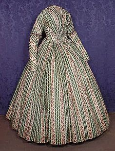 Printed cotton gown circa 1845.