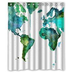 Yestore une carte du monde Vintage sur mesure en tissu de Polyester imperméable - 60 x 72 cm Rideau de douche